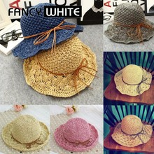 Promotional floppy wide brim summer sun shade women wholesale beach paper straw hats