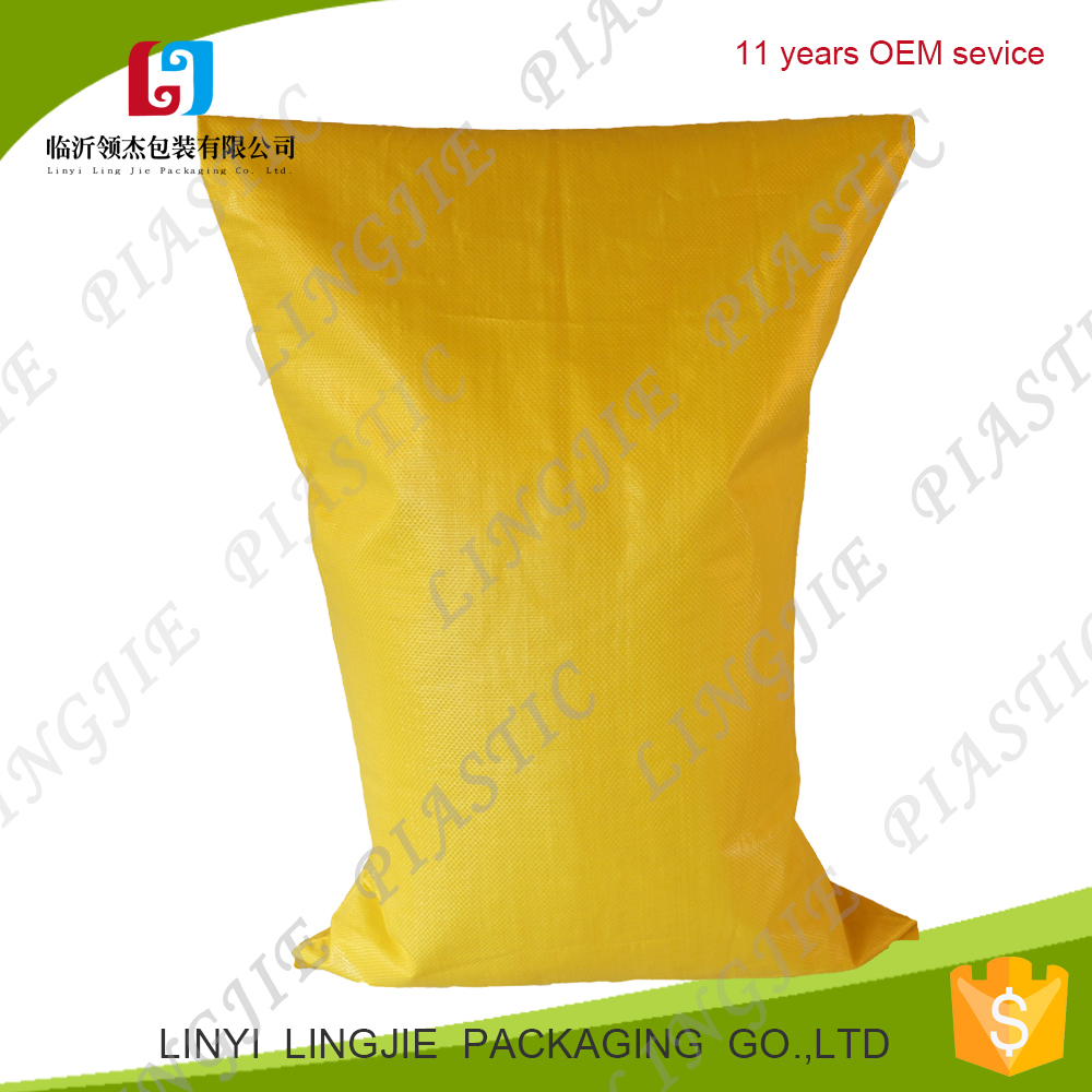 yellow pp woven sack/bags for packing wgeat/animal feed/coffee beans/corn