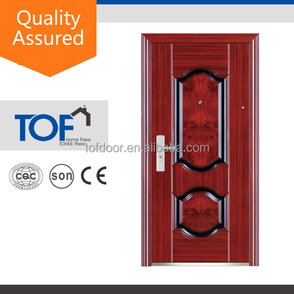 Residential Copper Color Metal Frame Popular Design mahogany wood front door