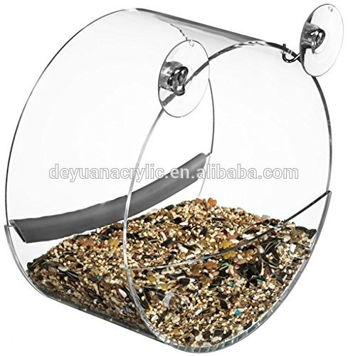 bird cage/Clear Acrylic Large Window Bird Feeder with Removable Tray, Drain Holes Glass Mount Seed Holder