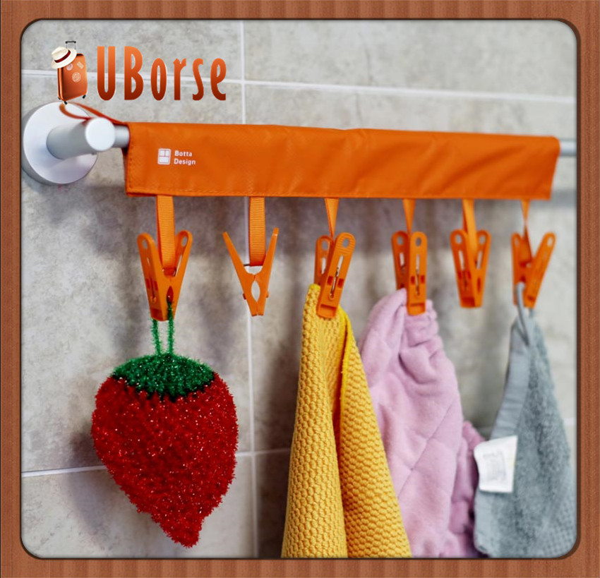 Folding Plastic Bathroom Towel Cloth Hanger Rack with 6 Clips/Foldable Travel Home Camping Rack/Underwear Clothes Drying Hanger