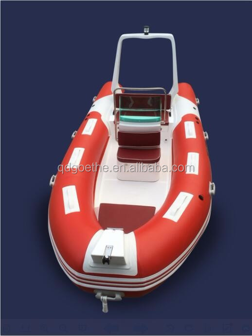 CE pvc or hypalon material fiberglass hull boat rigid inflatable boat with CE
