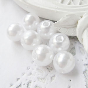 Wholesale Synthetic ABS Craft Plastic Pearls in Pure White