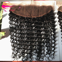 Hot sale stock curly brazilian full lace frontal closure 13x4
