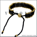 Customized Gold Bone Sticks Black String Woven Leather Bracelet