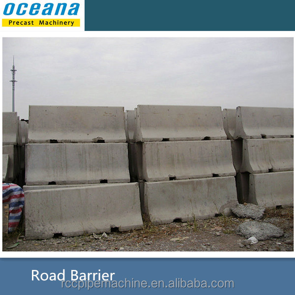 Mold of concrete road barrier in traffic