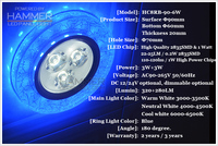 3d design crystal (Warm white/Cool white ajustable) led down light,blue recessed 6w round recessed ceiling led bulbs light