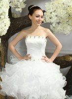 Charming strapless neckline beaded sexy short front and long back Wedding Dress