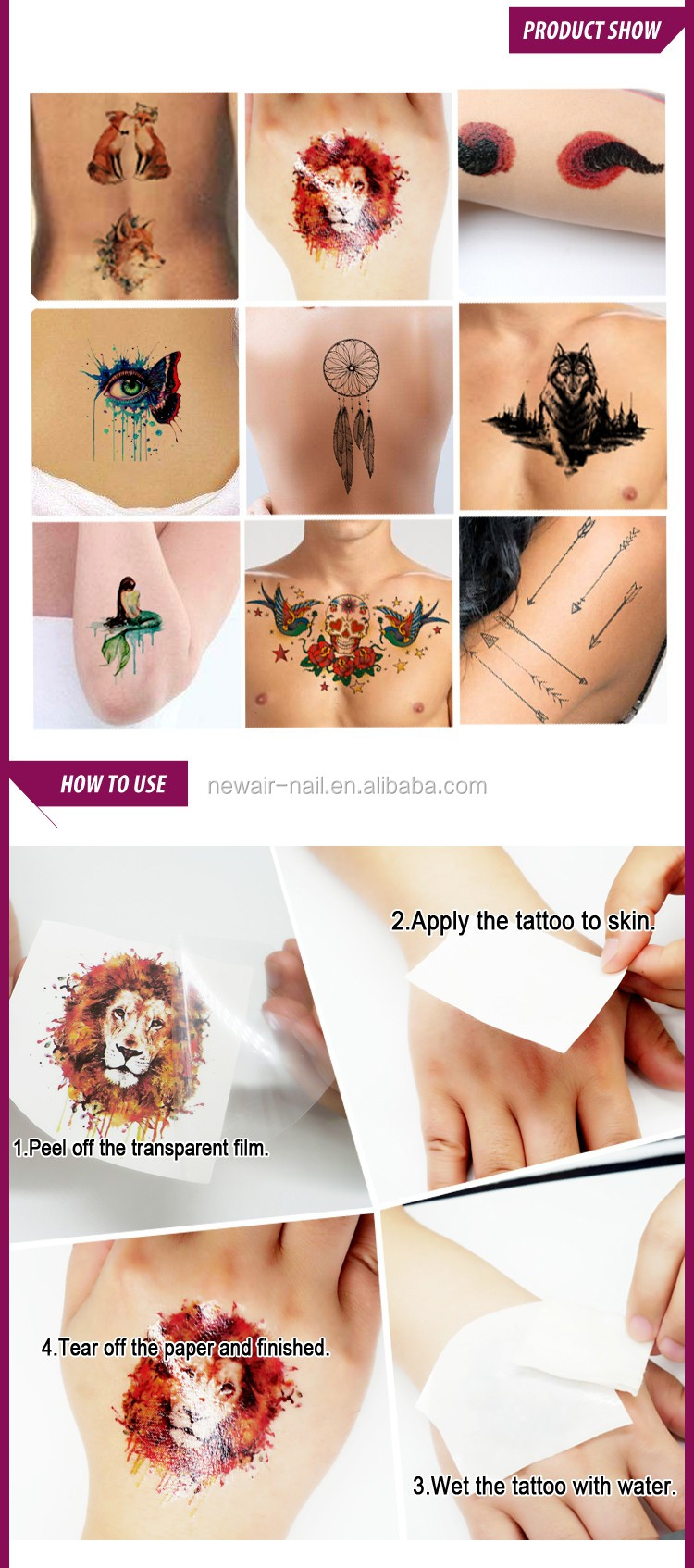 Newair Water transfer tattoo flash black and color flash tattoo