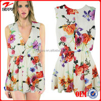Women Floral Print Jumpsuit, Deep V Neck Printed Romper with Ruffles Hem