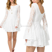 Lace long sleeve backless white mini women dress