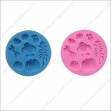 Round shape pumpkin cereal cake decorating fondant silicone mold halloween