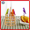 Factory supply creative plastic birdcage shaped fruit fork with stand