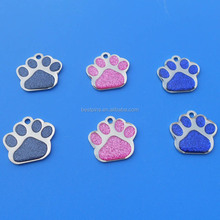 Dog paw shape engraving dog tags for <strong>pets</strong> with giltter and thick epoxy