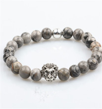 Guangzhou jewerly manufacturer wholesale 8mm grey jasper natural stone bead lion head bracelet