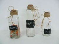 NEW DESIGN S/3 Glass Chalk Bottle Storage Bottle