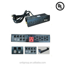 US power supply outlet with RJ11, RJ45 ports, nightstand ,specially for furniture assemble,UL