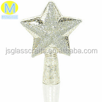 Silver Glass Star Christmas Tree Topper,Top of the Tree Glass Christmas Ornament