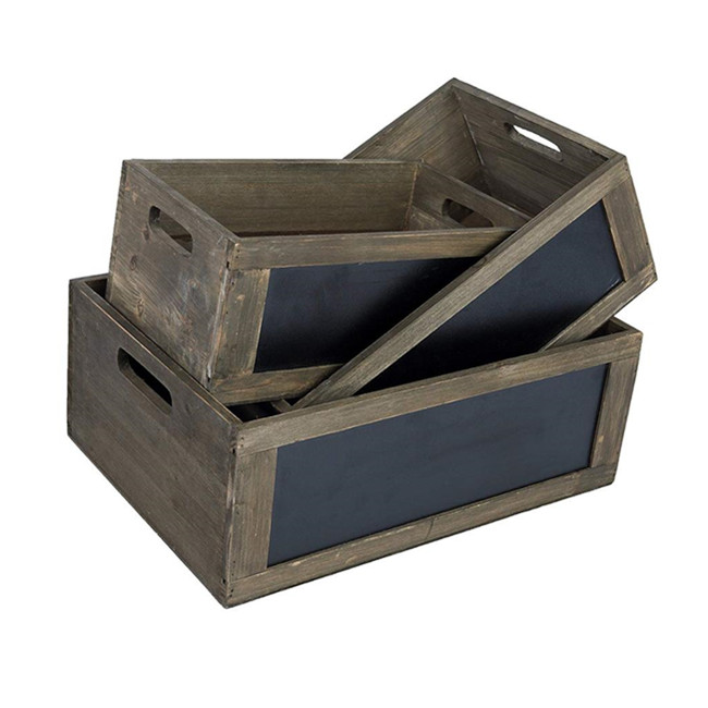 Burnt Wood Dark Brown Nesting Crate Riser Stands for Merchandise Displays