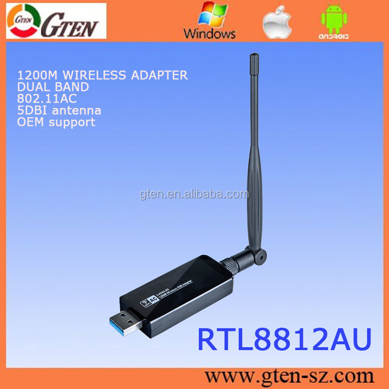 1200M OEM LOGO 802.11AC wlan network card RTL8812AU usb wireless adapter for android
