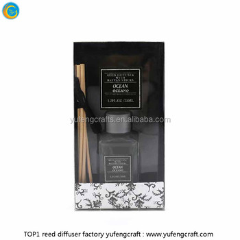 black packaging natural wood diffuser glass bottle