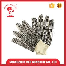 Safety anti-slip black pvc dotted canvas gloves for industry