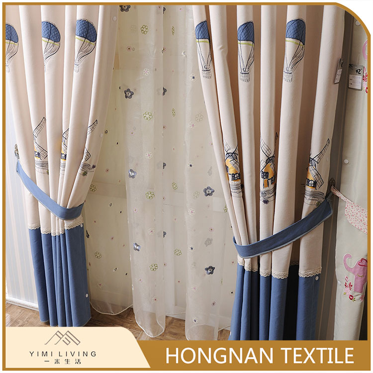 Novelty manufactory cotton embroidered shading multi color curtains