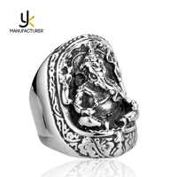 Mens Religious Jewelry Casting Technology Vintage Antique Elephant God Rings In Stock