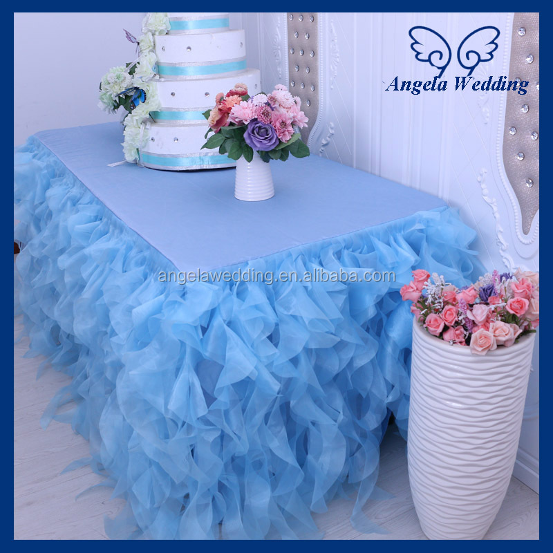 CL010S hot gorgeous decorative bridal ruffled wedding blue organza table skirt