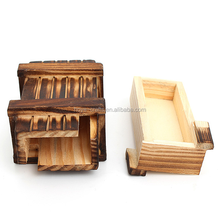 Double magic box wooden trick puzzle with two hidden drawers One opens before the other
