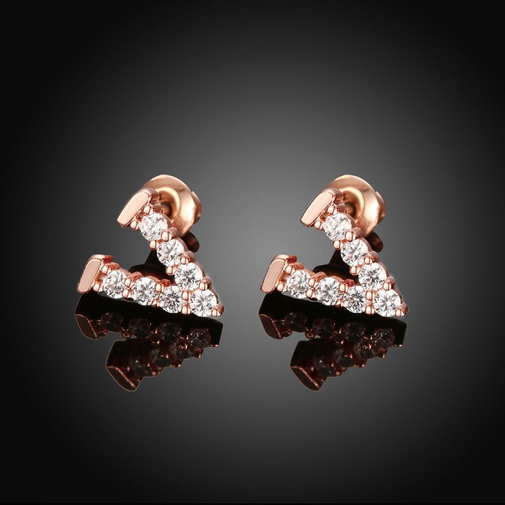 V Shape Diamond Rose Gold Trendy Women Brincos