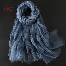 Sex Arab Plain Omysi Women's Personalized Blue Silk and Linen Tie Dye Hijab Scarf Ornaments 200cm