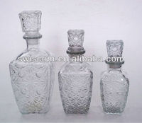 crystal glass wine bottles