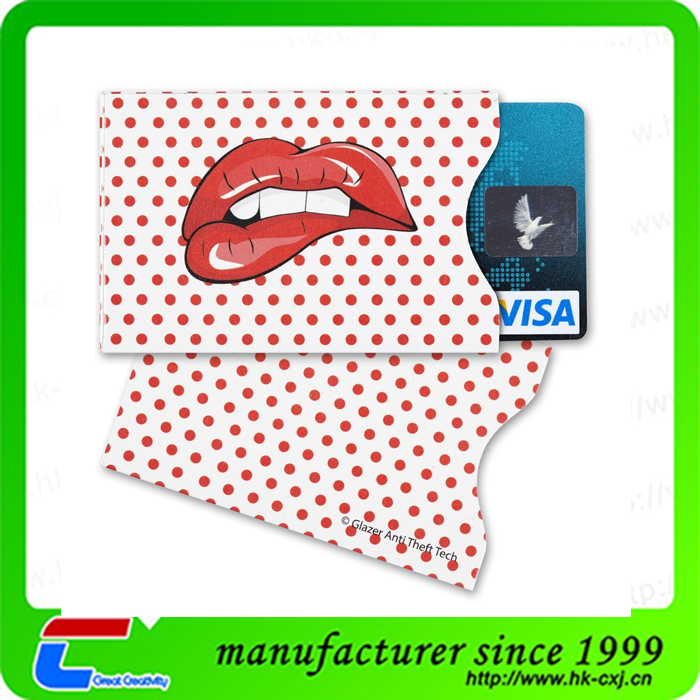 Custom Paper RFID Blocking Credit Card Sleeve For Payment Card and Passport