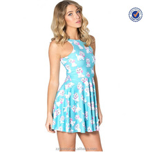 Ladies blue printed crew neck pleated skater cat dress