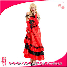 Hot sale big women size red ladies french can can dance costume dress