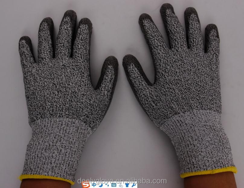 DEELY 13 gauge spandex/HPPE knitted working gloves cut resistant gloves level 5