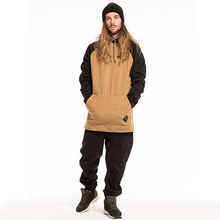 Tan and Black unisex hoodies ski snowboard long tall hoodie