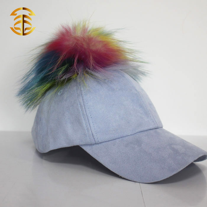 New Design 5 Panel Fitted Sports Baseball Suede Cap with Fur Ball