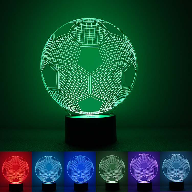 (Gadget) 2018 New Type Acrylic Night Light 3D Creative LED Lamp for Sale 3D Football Shape Effect Lamp