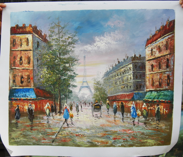 Paris street scenery hand painted Wall <strong>Pictures</strong> painting for living room ZQ-184