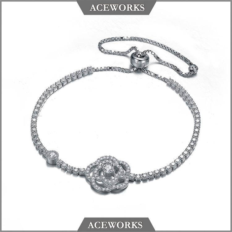 BC1723 Aceworks Hot Sale New 925 sterling silver rose flower bracelet jewelry
