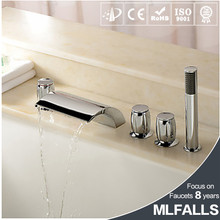 Factory price chrome 3 handles shower led basin faucet bathroom set 5 piece water fall bath mixer