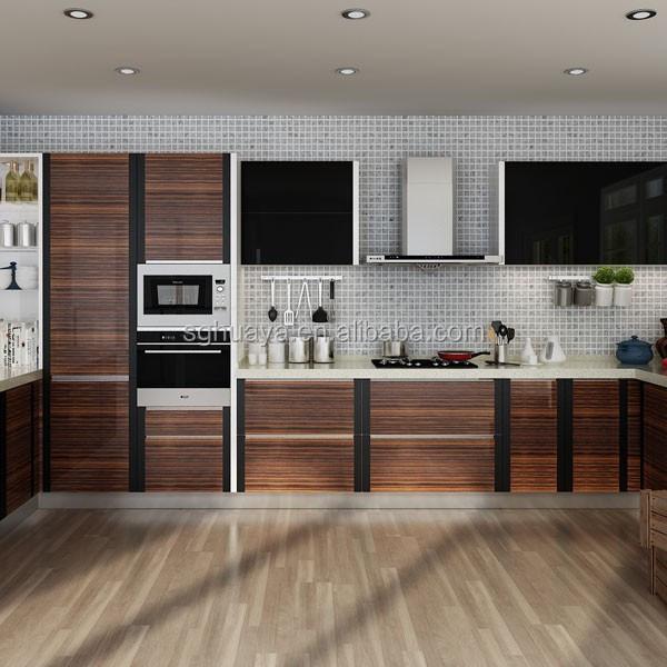 Wood Grain Kitchen Cabinets: Natural Grain Wood Color Pvc Kitchen Cabinet Simple Design