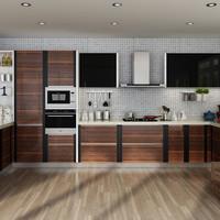 Natural grain wood color PVC kitchen cabinet simple design