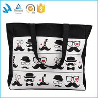 fashion recyclable custom design printed small shopping canvas cotton drawstring bag women bags