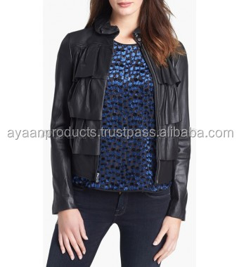 Crinkled Sheepskin Cupcake Leather Bomber Jacket AP-1005