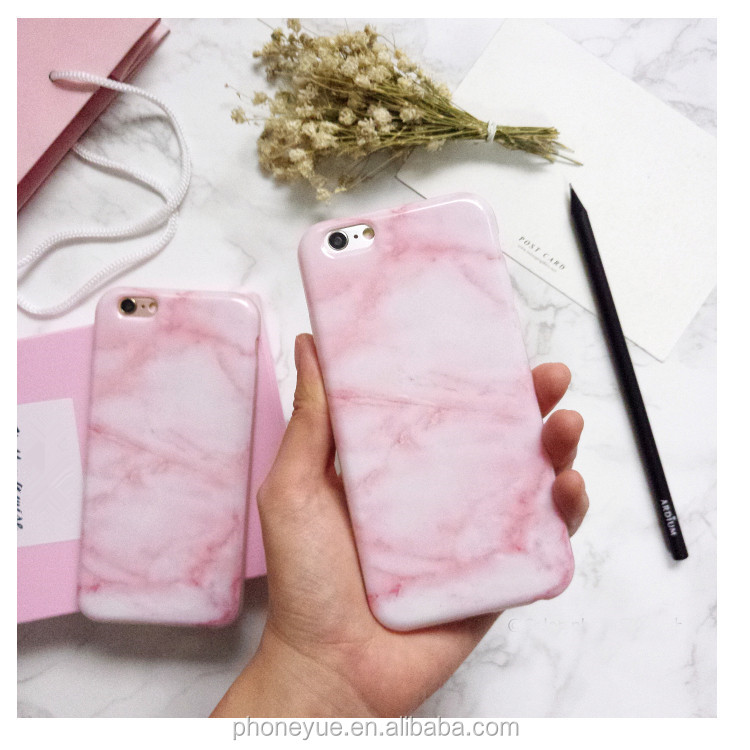 Hottest Fashion Glossy Stone Granite Pink Marble TPU Silicone Phone Case for iPhone 6/6 plus