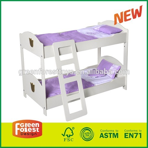 Wooden Kids Pretending Toy Bed for American Girl Doll, Doll Bunk Beds with Ladder for 18 Inch Doll Furniture