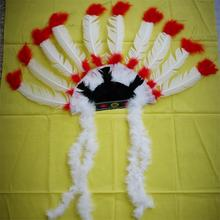 Cheap white-red turkey feather with flower pattern indian headdress
